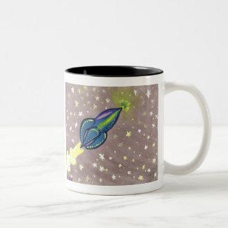 Jette Rockit - Blue Rocket Two-Tone Coffee Mug