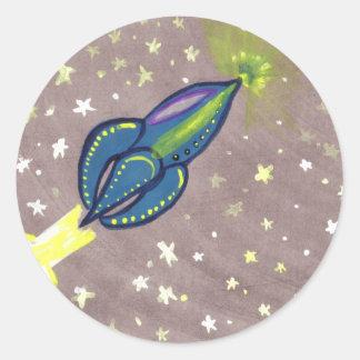 Jette Rockit - Rocket azul Pegatina Redonda