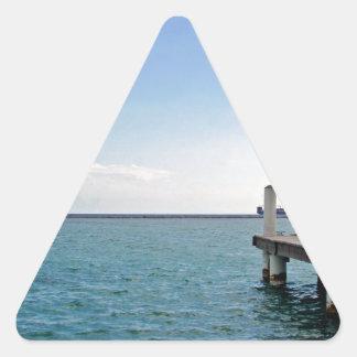 jette y cóctel tropicales pegatina triangular