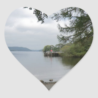 Jetty at Howtown, Ullswater Heart Sticker