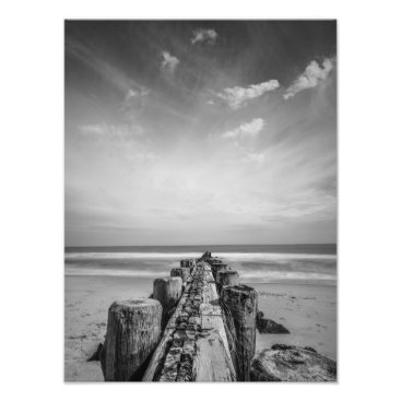 Beach Themed Jetty at the New Jersey Shore Photo Print