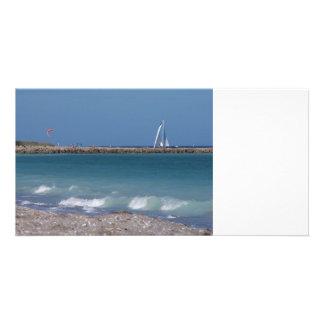 jetty boats waves florida beach photo card