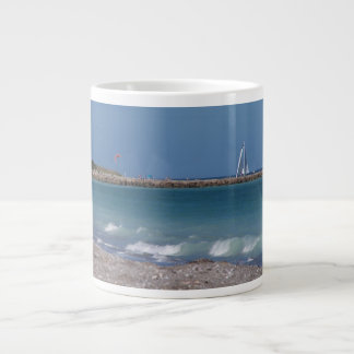 jetty boats waves florida beach extra large mug