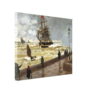 Jetty of le Havre in bad weather by Claude Monet Canvas Print