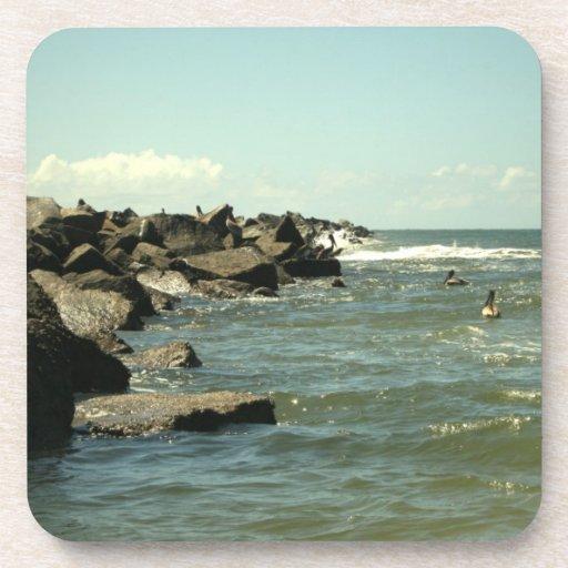 Jetty Rocks Inlet Pelican Sky Ft. Pierce Florida Coaster