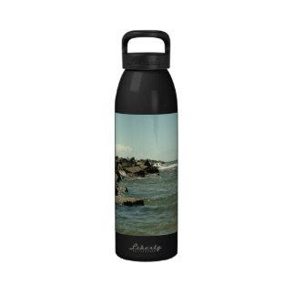 Jetty Rocks Inlet Pelican Sky Ft. Pierce Florida Water Bottles
