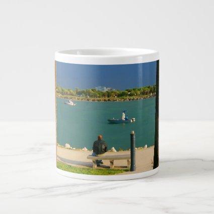 jetty scene in graphic boat man jumbo mugs