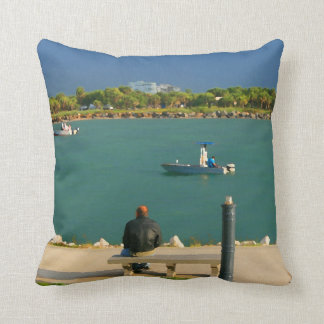 jetty scene in graphic boat man pillows
