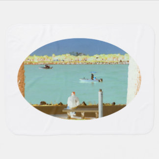jetty scene in graphic boat man  yellow style baby blanket