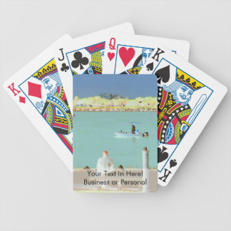 jetty scene in graphic boat man  yellow style bicycle playing cards