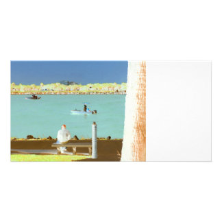 jetty scene in graphic boat man  yellow style card