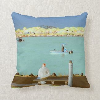 jetty scene in graphic boat man  yellow style pillow