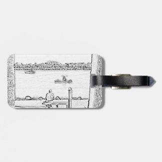 jetty scene in woodcut style beach ocean design luggage tag