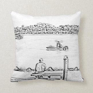 jetty scene in woodcut style beach ocean design throw pillows