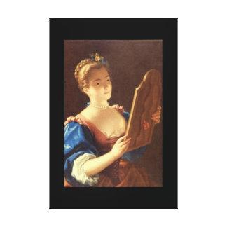 Jeune Femme au Miroir', Jean_Portraits Canvas Print