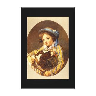 Jeune Garcon au Chien'_Portraits Canvas Print