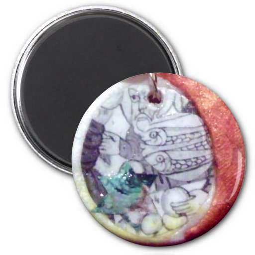 Jew Christian Muslim Peace8loavesandfishesMagnet 2 Inch Round Magnet