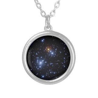 Jewel box cluster round pendant necklace