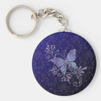 Jewel Butterfly Basic Round Button Keychain