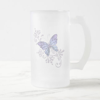 Jewel Butterfly Frosted Glass Beer Mug