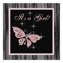 Jewel Butterfly Pink Black Baby Girl Shower 5.25x5.25 Square Paper Invitation Card