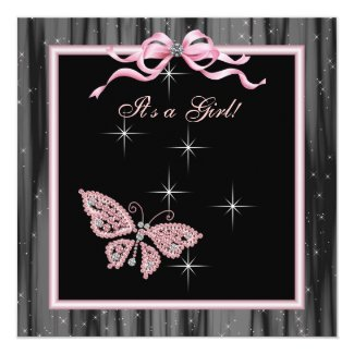 Jewel Butterfly Pink Black Baby Girl Shower Invitations