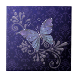 Jewel Butterfly Small Square Tile