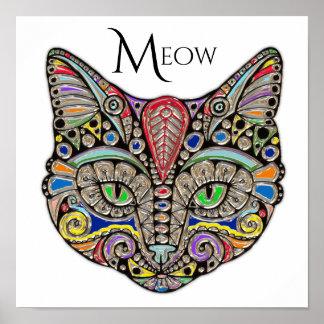 Jewel Cat Colorful Boho Poster