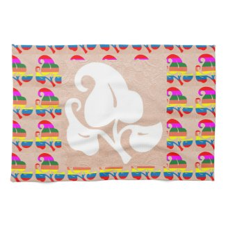 Jewel Colorful n White on Embossed Gold Foil Hand Towel