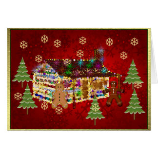 Jewel-Covered Gingerbread House Greeting Card