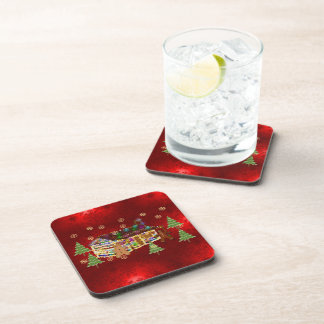 Jewel-Covered Gingerbread House Beverage Coasters