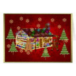 Jewel-Covered Gingerbread House Greeting Cards