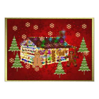 "Jewel-Covered Gingerbread House 5"" X 7"" Invitation Card"