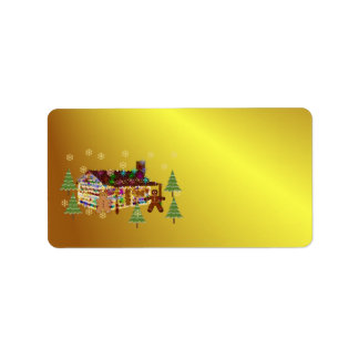 Jewel-Covered Gingerbread House Address Label