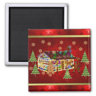 Jewel-Covered Gingerbread House Magnet