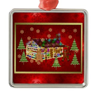 Jewel-Covered Gingerbread House ornament