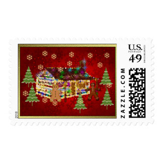 Jewel-Covered Gingerbread House Postage Stamp
