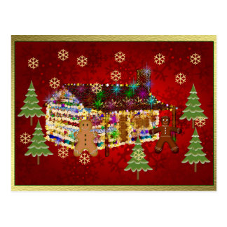 Jewel-Covered Gingerbread House Postcard