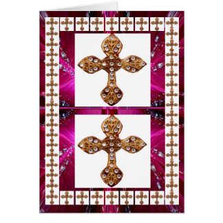 Jewel Cross Pendent - Love and Surrender Greeting Card