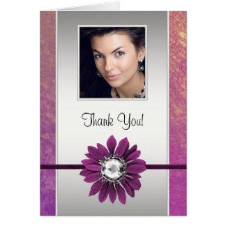 Jewel Daisy Purple Photo Thank You Cards