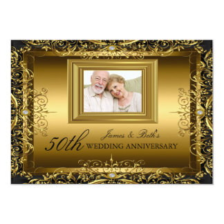 Jewel Damask Gold 50th Wedding Anniversary Invite