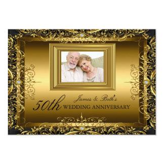 Jewel Damask Gold 50th Wedding Anniversary Invite