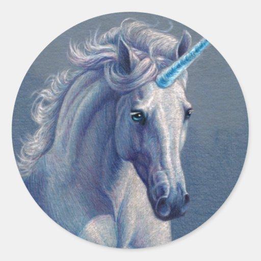 Jewel el unicornio pegatina redonda