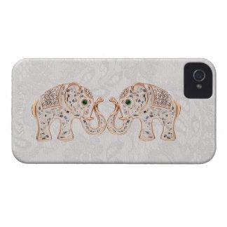 Jewel Elephants Photo & Paisley Lace iPhone 4 Case