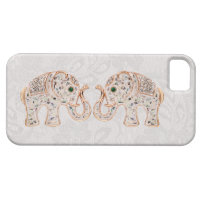 Jewel Elephants Photo & Paisley Lace iPhone 5 Case