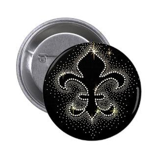 Jewel Fleur De Lis Black Silver Gold Sparkle 2 Inch Round Button