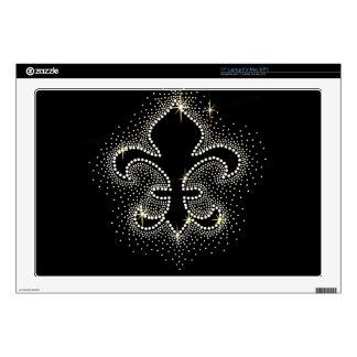 """Jewel Fleur De Lis Black Silver Gold Sparkle Decals For 17"""" Laptops"""