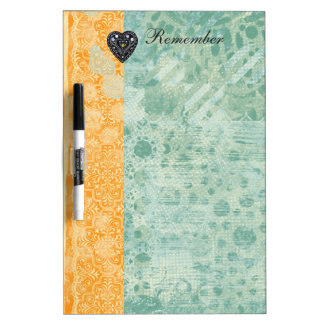 Jewel Heart Blue & Yellow Pattern Remember Dry-Erase Board
