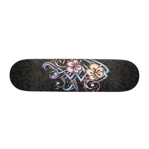 Jewel Hibiscus Custom Skateboard