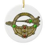Jewel Irish Brooch Emerald Gem Hanging Pendant